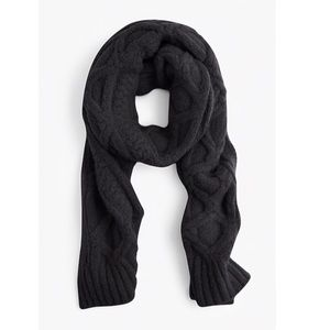 J. Crew Black Cable Knit Oversized Wool Scarf New